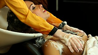 Bride to be gets a sensual boob massage by her hairdresser