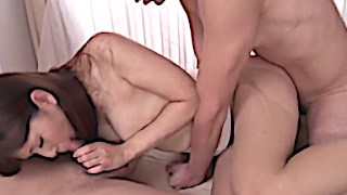 Trimmed Asian Banged by 2 Horny Fellas
