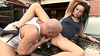 Stunning cougar Inga Devil blowing mechanic on hood