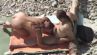 Amateur couple at the beach
