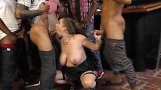 Busty BBW slut takes a whole team of BBC gangstas