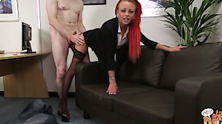 Impressive ginger cougar is so delighted at his large boner